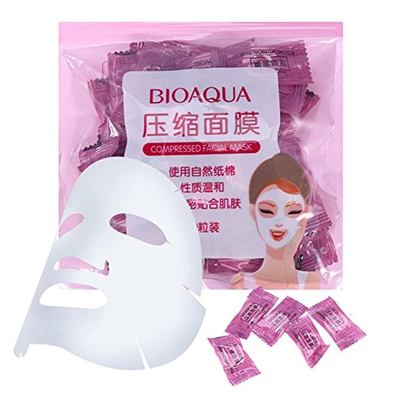 眩惑する待つ関係スキンケア 50個/パックナチュラル 不織布 圧縮 フェイスマスク DIYフェイシャルマスク