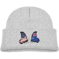 American and Australian Flag Butterflies Child Elastic Knitted Beanie Cap Wool Cotton Cap Skull Hat (one Size)