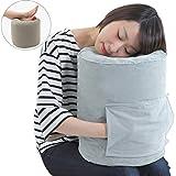 飛行機 抱き枕 うつぶせ寝 クッション フットレスト 足置き 旅行便利グッズ SmartTravel (色:グレー / Lサイズ(身長170cm以上の方向け))