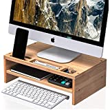 Computer Monitor Stand Bamboo Screen Riser Desk with Storage Shelves for PC, Printer, Laptop, TVs (MR3)