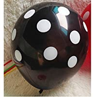 "Loevers 20 Pcs Round Helium High Quality 12"" Black Polka Dot Balloons"