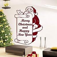 Xueshao メリークリスマスとハッピーニューイヤーサンタクロース壁デカールビニールステッカーホームアート寝室の装飾リビングルーム壁画57×77センチ