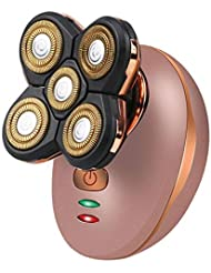 携帯用完璧なヘッド脚顔のひげ除去剤かみそり、コードレス電気防水かみそり、5フローティングヘッドUSB充電かみそり,Gold