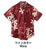 (マジュン) MAJUNかりゆしウェア(沖縄版アロハシャツ) レディース スキッパー シークレットフラワー(シャツ) ワインカラー 3L
