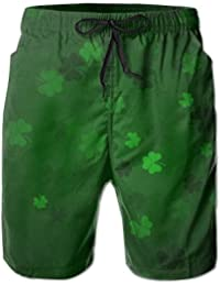 メンズ ビーチショーツ ショートパンツ グリーン葉プリント 水着 スイムショーツ サーフトランクス インナーメッシュ付き 通気 速乾