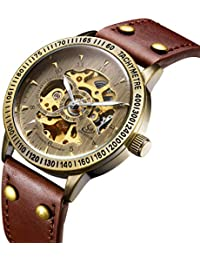 腕時計、メンズ腕時計、ビジネススケルトン腕時計自動防水腕時計ヴィンテージブラウンレザーストラップ腕時計高級ブラックステンレススチール腕時計 (ゴールド)