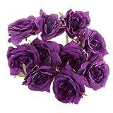 【ノーブランド品】バラ 造花 ローズ  花びら 花ヘッド 結婚式 装飾 DIY アクセサリー 素材 10個 全8色 - 紫
