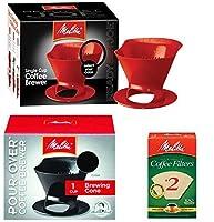 メリタレディセットジョー・シングルカップコーヒーブリューワーメーカーを注ぐ - 1ブラック&1赤+#2ナチュラルブラウンコーンコーヒーは、100カウントをフィルタ