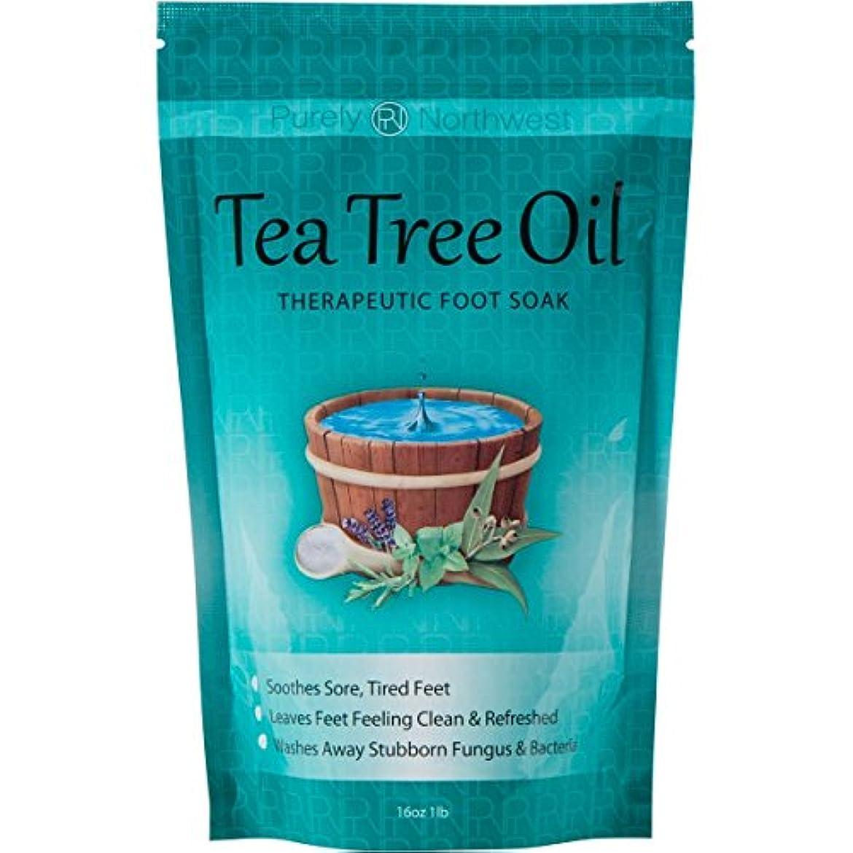 摩擦符号ポーチティーツリーオイル配合 フットバス用ソルト Tea Tree Oil Foot Soak With Epsom Salt 16oz (454g)