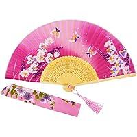 "Amajiji 8.27""(21CM) Chinease/Japanese Vintage Retro Style Design Bamboo Silk Folding Hand Held Fan (HQJ-19)"