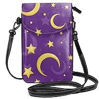黄色い星と月 スマホケース スマホポーチ ショルダーバッグ 携帯電話バッグ 斜めの財布 小物入れ レディース 大容量 多機能