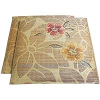 イケヒコ い草 座布団 国産 袋織 織込千鳥 『なでしこ 2枚組』 ベージュ 約60×60cm×2P