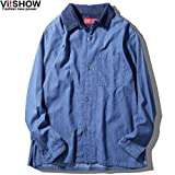 VIISHOW デニムシャツ カジュアルシャツ チェックシャツ ア カッターシャツ クティブシャツ ボタンダウンシャツ 開襟シャツ パッチワーク 長袖 メンズ