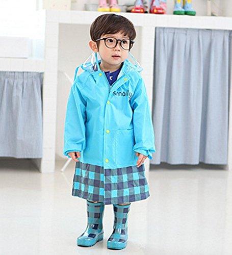 しあわせ倉庫透明フードキッズレインコートポンチョ子供レインウェア雨具収納袋セット男の子女の子(ブルー)