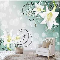 Xbwy カスタム壁画壁紙3Dステレオ美しいユリの花壁画リビングルームの寝室防水キャンバスロマンチックな家の装飾-150X120Cm