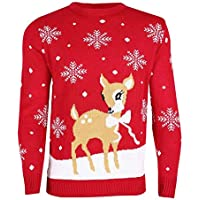 Rimi Hanger Ladies Bambi Deer Xmas Jumper Womens Fancy Knitted Christmas Party Wear Top S/3XL