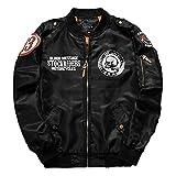メンズ ジャケット ブルゾン ミリタリー ジャンパー フライジャケット MA-1 黒 緑 紺 M L XL (ブラック M)