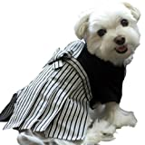 iDog アイドッグ 家紋付袴 黒色×縞 XXS 犬 袴