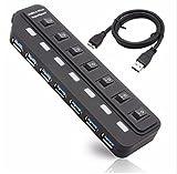 QZT USBハブ USB3.0対応 7ポート 個別スイッチ LEDライト付 セルフ / バスパワー両対応 7ポート 高速 軽量 コンパクト20307 ブラック