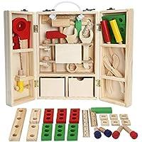 シミュレーション木製ツールボックスセットToys Pretend Play修復ツールキット子供のパズル玩具キッズ男の子