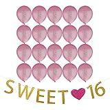 Blesiya 16歳 誕生日パーティー 装飾 セット SWEET ♥ 16 紙製 バナー ガーランド + 20個 ピンク 風船