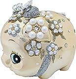 【鏡面加工のド派手な豚の置物 繁栄と富の象徴】 花豚ゴールドバンク大 W-C-364 (クリス)