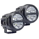 【Lightronic】2個セット 10°狭角ビーム 20W オートバイ LEDサーチライト 前照灯 フォグランプ 補助照明 CREEチップ 6000K 白光 DC12V24V兼用 IP67防水 13ヶ月保証