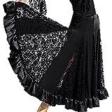 Meilleur reve【上品な サテン&レース】社交 ダンス スカートフリー サイズ 衣装 ドレス モダン エレガント 女性 レディース パソドプレ ラテン タンゴ (01:ブラック)