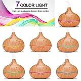 エッセンシャルオイルディフューザー、リモートコントロール300ミリリットルウッドグレインアロマセラピーディフューザーエッセンシャルオイル、アロマオイル加湿器ホームオフィススパ、7色ライト,Lightcolor WAN...