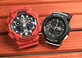 カシオCASIO 腕時計 G-SHOCK&BABY-G ペアウォッチ 純正ペアケース入り ジーショック&ベビージー 2本セット レッド 赤 ブラック 黒 アナデジ GA-100B-4AJF BGA-240-1AJF