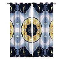 遮光カーテン 輝く 曼荼羅 ドレープカーテン おしゃれ 断熱 遮熱 防音 昼夜目隠し 遮像 デコレーション 洗濯可 取り付け簡単 100cmx215cmx2