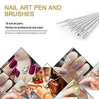 15 Pcs Cosmetic Nail Art Polish Painting Draw Pen Brush Tips Tools Set UV Gel DIY Decoration Beauty Painting Equipment Tools