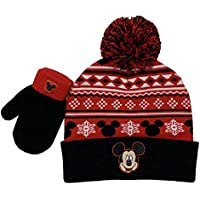 Disney Mickey Mouse Winter Hat and Glove Set, Boys Ages 1-4 Black and Red