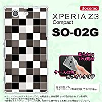 SO02G スマホケース XPERIA Z3 Compact SO-02G カバー エクスペリア Z3 コンパクト ソフトケース スクエア グレー nk-so02g-tp1016
