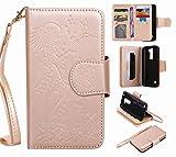 Yiizy LG K7 X210 MS330 ケース 手帳型 ガール エンボス加工 カバー 本革ソフトレザー 対応 ケース カードポケット スタンド機能 マグネット式 財布型 カバー (の黄金の)