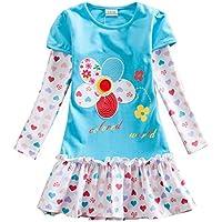 VIKITA Toddler Flower Girl Dress Cotton Long Sleeve Baby Girls Winter Dresses for 2-8 Years, Knee Length Edition