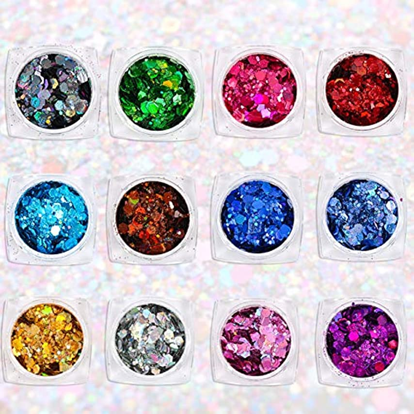 ハンドブックアイデア薬局Wadachikis 有益な12色レーザー六角形のスパンコール爪きらめき粉砂の携帯電話シェルの工芸品特別なきらめきパウダーグリッタースパンコール