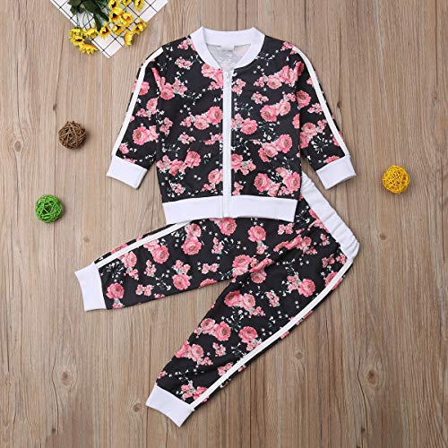 Listogether Toddler Kids Clothing Baby Girls Cute Floral Long Sleeve Zipper Sweatshirt Top+Long Pants 2Pcs Outfits Set - Blue - 2-3 Years