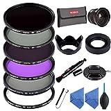 カメラフィルター 58MM UV+CPL+ND2 ND4 ND8+FLD+0.35x魚眼レンズ フィルターキット UVフィルター レンズ保護用と紫外線カット+PLフィルター 光の反射除去+NDフィルター ND2 ND4 ND8 減光フィルター 長時間露光撮影+FLD/FL-Wフィルター 蛍光灯補正+52MM 0.35x魚眼レンズ スーパーフィッシュアイ+花形レンズフード+マルチレンズフード+レンズキャップ+クリーニングクロスx2+ブロアー+クリーニングペン+落下防止ストラップ+フィルターケース(6枚用)Beschoi 16点キット