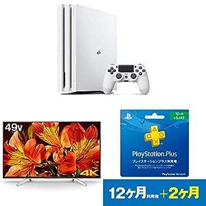 PlayStation 4 Pro グレイシャー・ホワイト 1TB + ソニー ブラビア 49V型液晶テレビ(KJ-49X8500F) + PlayStation Plus 12ヶ月利用権 セット