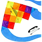 (Rainbow Ghost) - emma kites Rainbow Ghost & Mexico ELF 150cm Delta Kite Rainbow Splicing for Beginner Kids Adults Easy to Fly - RTF kit including 100m Kite String - Spring Breeze, Outdoor Games Activities