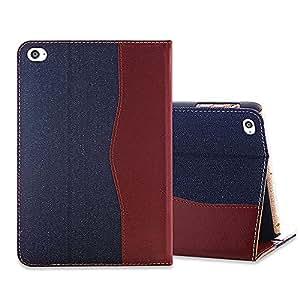 レザーケース デニム 手帳型 スマホケース (iPad mini4, ネービーブルー) [並行輸入品]