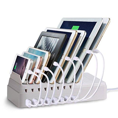lvshan 8ポートUSB充電器(CS008)、収納型充電スタンド、USB充電器、2.4A急速充電、充電スタンド、チャージャーステーション (白い)