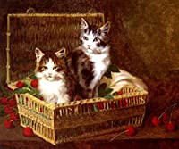 THE PICK OF THE BASKET TWO CATS AND CHERRIES PAINTING BY JULES LEROY ON CANVAS REPRO [並行輸入品]