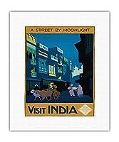 インド訪問 - 月明かりに照らされるストリート - 牛車のあるストリートの風景 - ビンテージな世界旅行のポスター によって作成された ヘンリー・ジョージ・ガソーン c.1920 - キャンバスアート - 28cm x 36cm キャンバスアート(ロール)