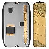 Apple Pencil ケース - ATiC Apple iPad Pro Pencil用 スリーブ ポーチ PUレザー製 内蔵ポケットとホルダー ジッパータイプ キャリングバッグ/ホルダー, マップ ブラウン