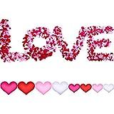 700ピースハート形花びらハート紙吹雪サテンハートバレンタインデーの結婚式の装飾、4色と2サイズのために散らばって
