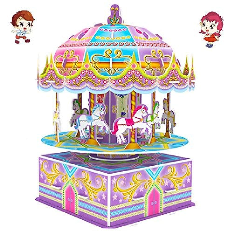 Ttho 3d Carousel Puzzles for Kids Magic Carouselカルーセル音楽ボックスドールハウスモデルDIYコンストラクションセット教育玩具クリエイティブゲーム、おもちゃの誕生日ギフトGirl Boy