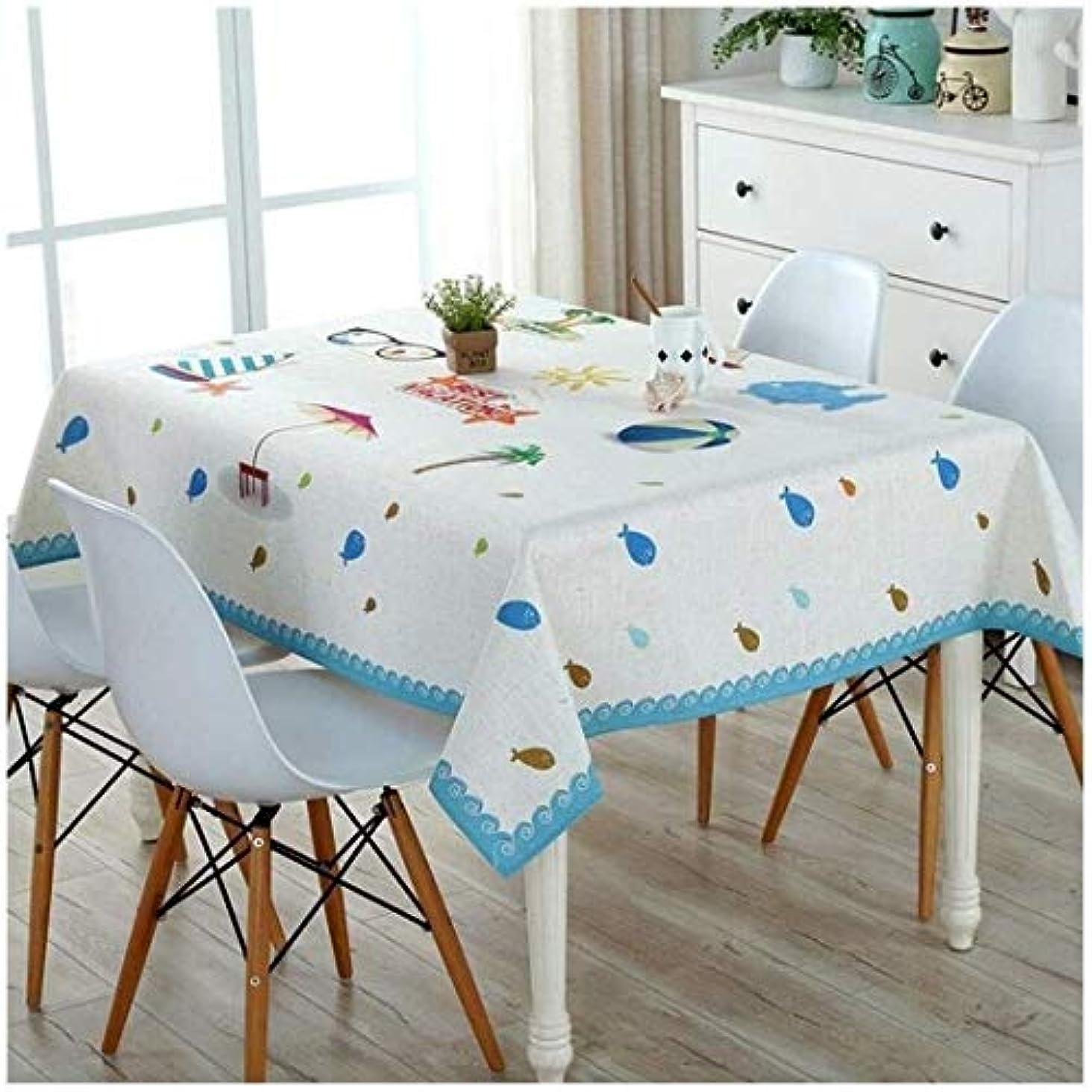 カバレッジいとこ美徳テーブルクロス、エレガントな白、青のホームテーブルクロス多機能屋外パーティーパーティー長方形のテーブルクロス通気性の綿と麻の生地の品質のテーブルクロス (Size : 110cm*110cm)