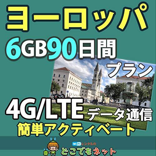 お急ぎ便ヨーロッパ 周遊 プリペイド SIMカード 4G データ 通信 (大容量(6GB/90日))